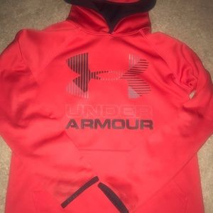 BOYS RED UNDER ARMOUR PULLOVER HOODIE YOUTH MED